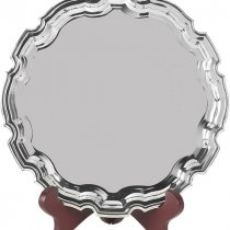 10 inch nickel plated round Chippendale salver