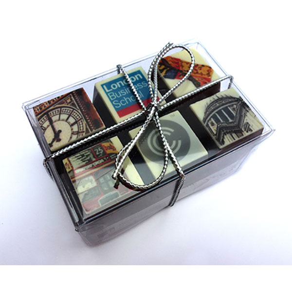Box of 6 printed chocolates