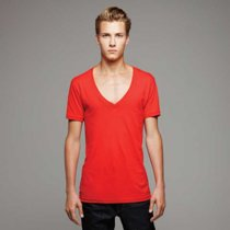 Canvas Jersey Deep V-Neck T-Shirt