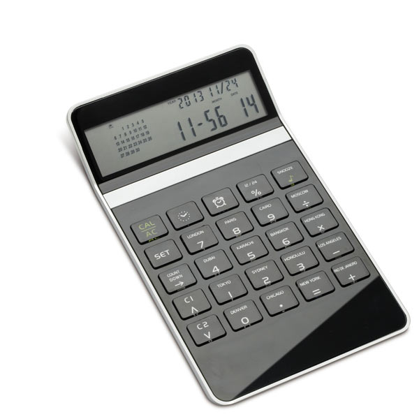 Desk calculator with world time clock