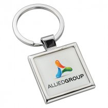 Metal alloy domed panel key ring