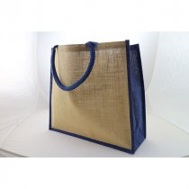 Large natural jute bag with dyed gusset