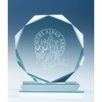Jade glass facetted octagon award
