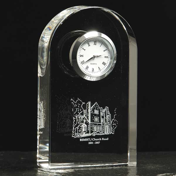 Optical Crystal Arch Desk Clock