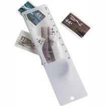 Plastic ruler with magnifier