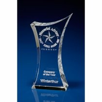 Stylish 3D engraved crystal trophy
