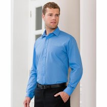 Russell Collection Long Sleeve Polycotton Easy Care Poplin Shirt