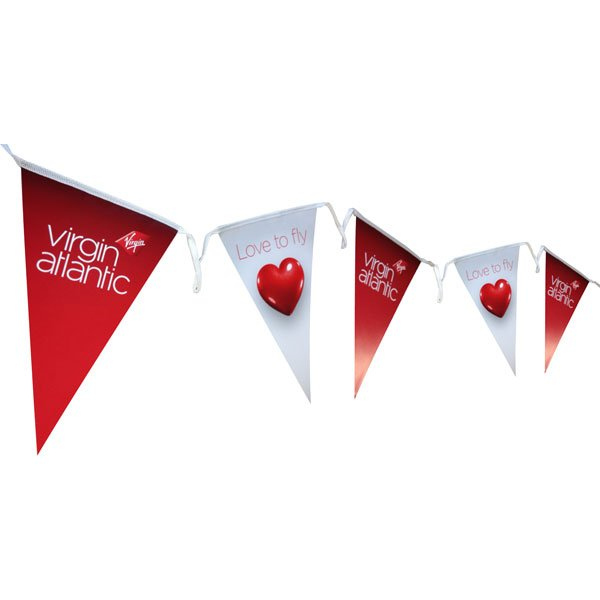 Triangular paper bunting for indoor use only