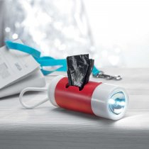 Waste bag dispenser with LED torch